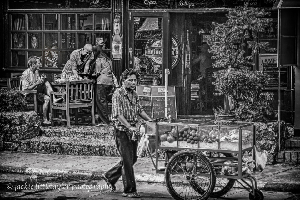 Fruit Vendor Street Life Thailand HDR lil boy in window B/W