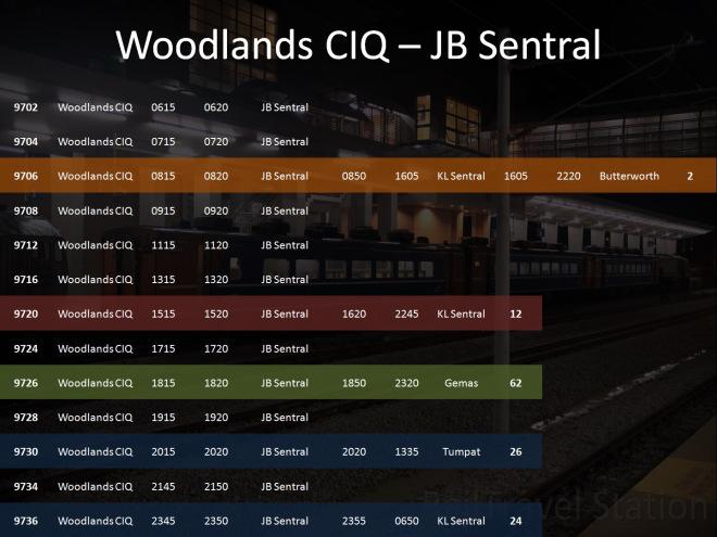Woodlands CIQ to JB Sentral Timetable