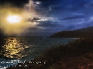 dark sunset ocean coastline Promthep