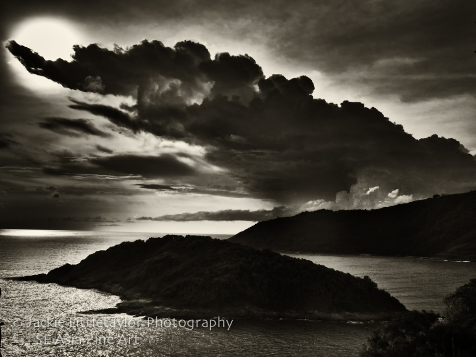 sunset dark clouds Andaman Sea dark light on water B/W Promthep