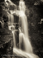 waterfall KHan Phra Thaeo Wildlife Thailand B/W