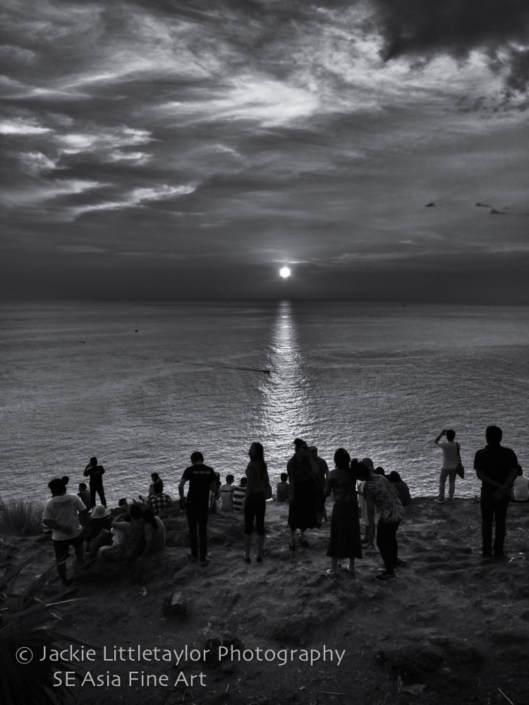 sunset Andaman sea people watching B/W Promthep