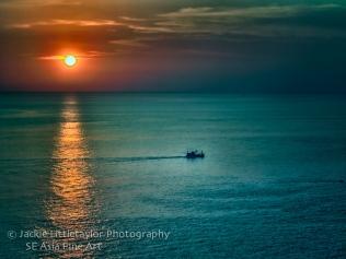 sunset Andaman Sea Trawler Promethp