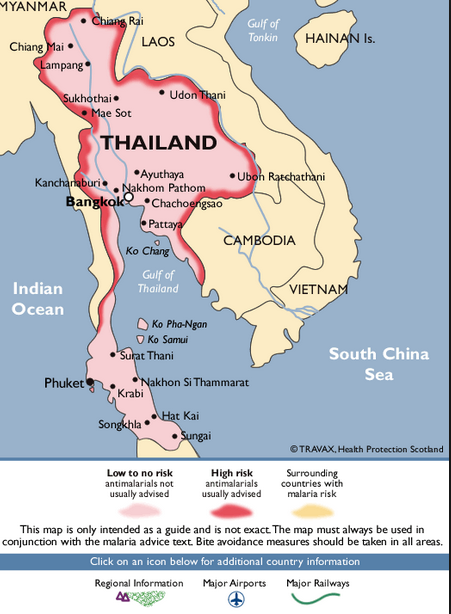 malaria rick map thailand