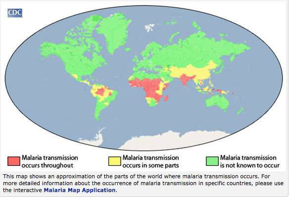 CDC Map of where Malaria occurs
