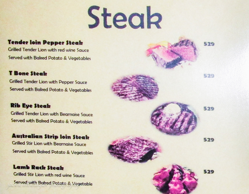 Steak Menu The Nine