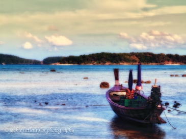 longtail boat sunset blue waters pastel soft impression