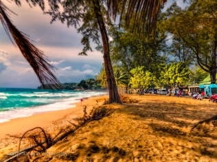 Surin beach at Sunset and shops