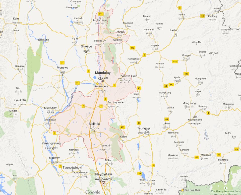Mandalay Region Map