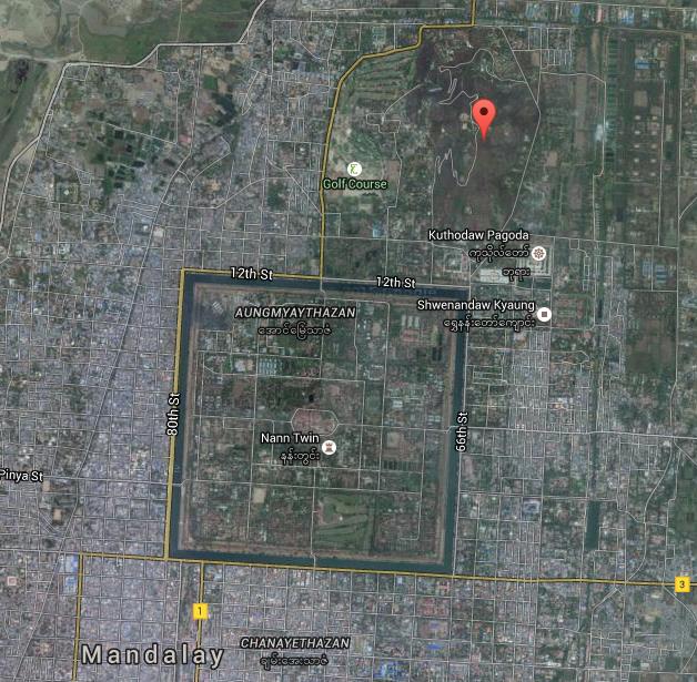 Mandalay Hill Myanmar map