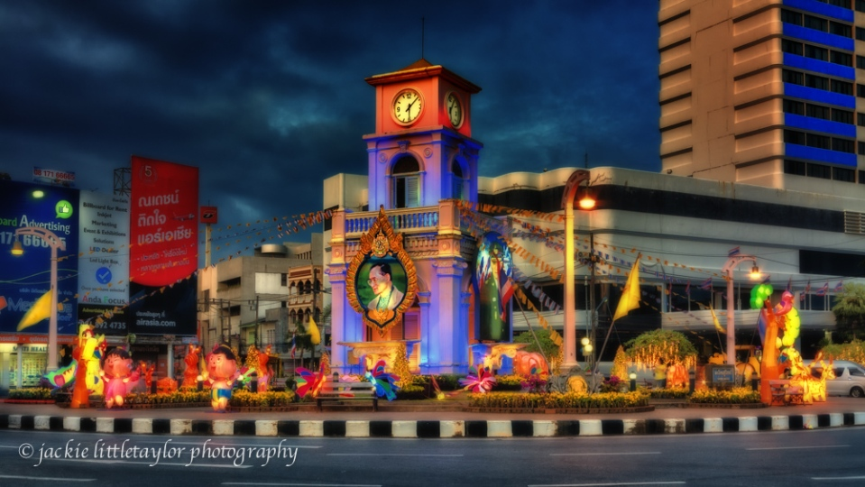 Traffic Circle Phuket Town Thailand  night impression