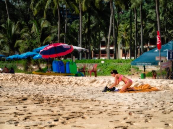 Pink Bathing suit on Kata Noi Beach