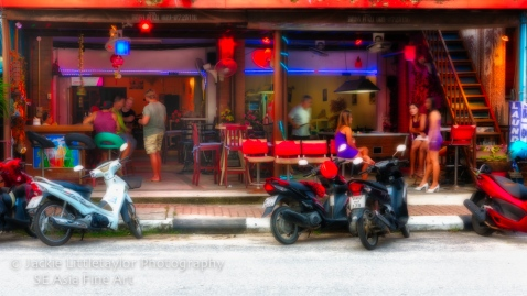 motorbikes and red lights at the bar