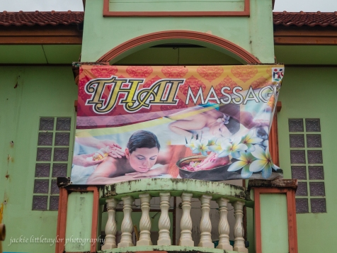 Thai Massage sign over massage shop