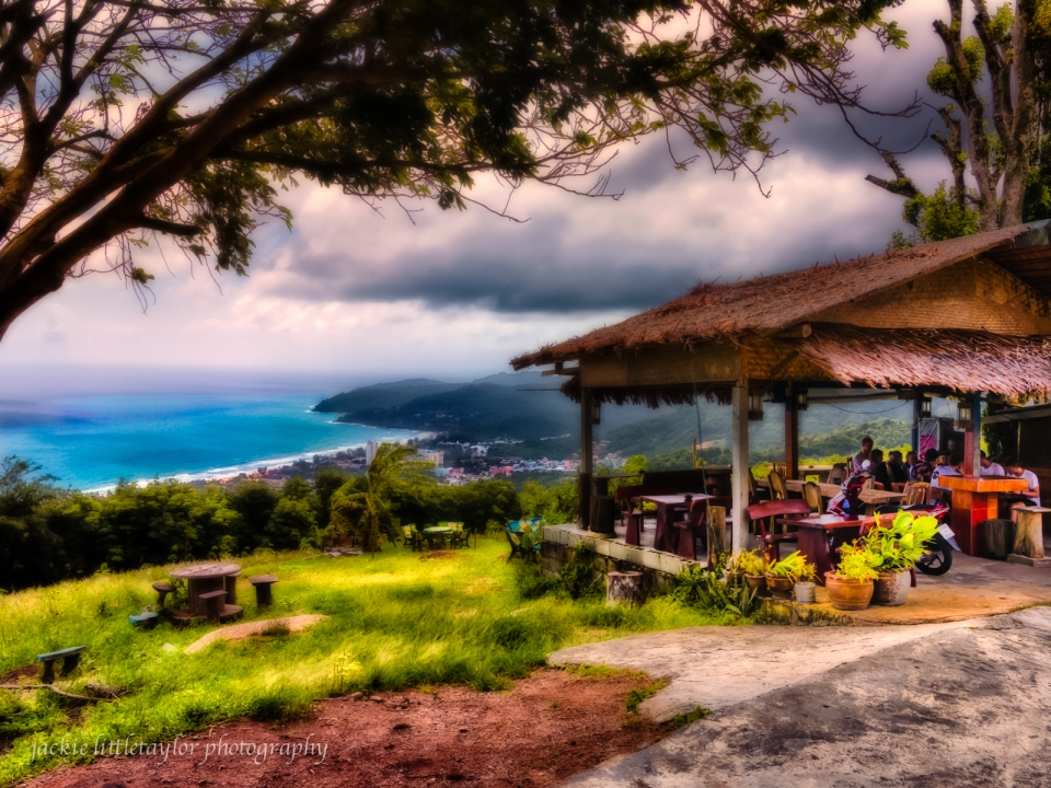 small cafe on hill overlooking Karon