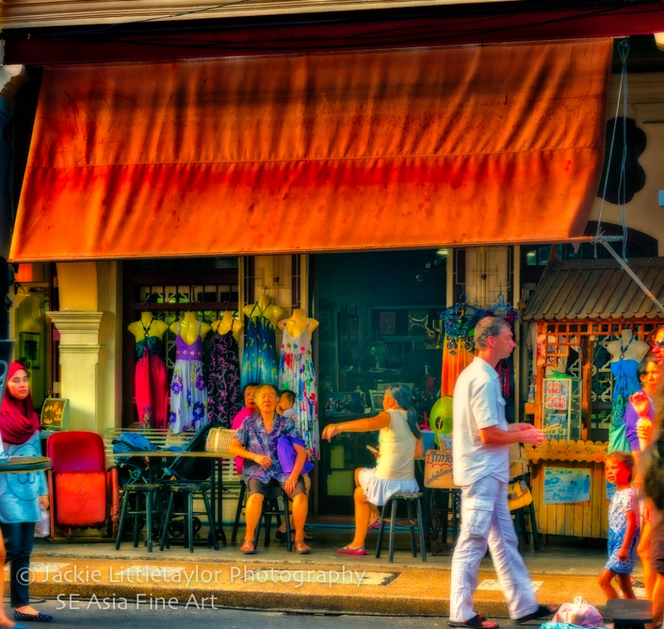 Old Woman at a Dress Shop Walking Market Old Town Phuket