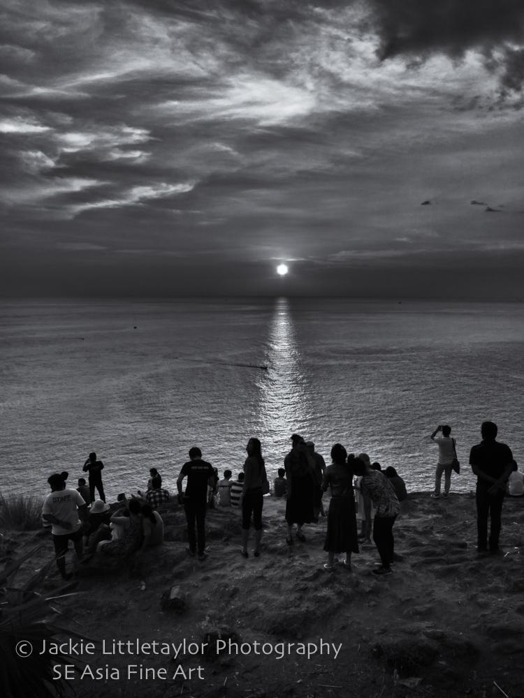 sunset Andaman sea people watching B/W