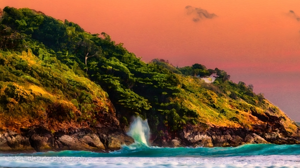 wave crashing coast sunset Andaman Sea impression paint